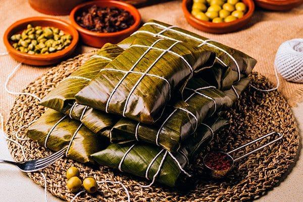 Menú de comida mexicana: tamales