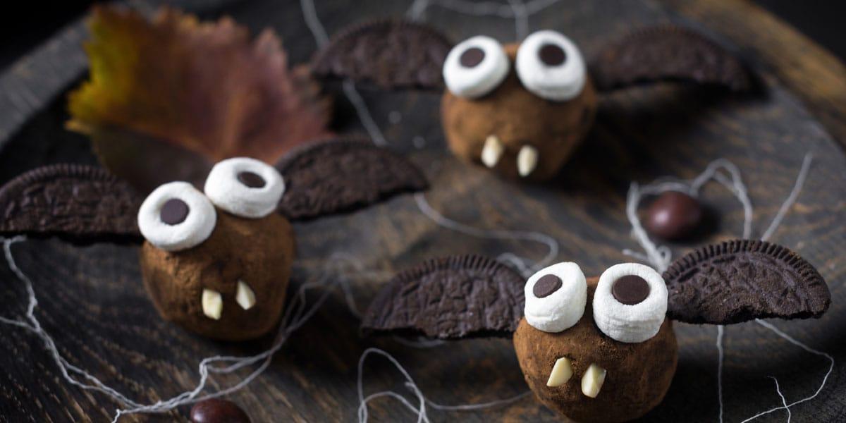 Recetas de cocina, Trufas de murcielago, Recetas de Halloween
