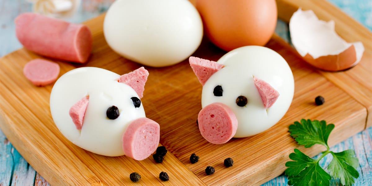 Cerditos de huevo sancochado
