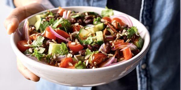 recetas de cocina Ensalada de frijoles y vegetales con vinagreta