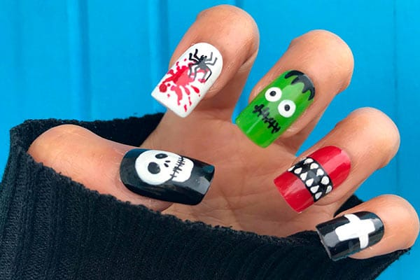 Uñas de Halloween monstruos